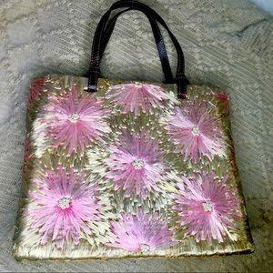 Kate Spade pink and multi-colour raffia tote